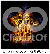 Royalty Free RF Clipart Illustration Of A Blazing Gemini Zodiac Symbol by Michael Schmeling
