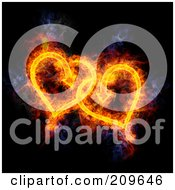 Royalty Free RF Clipart Illustration Of A Blazing Pair Of Hearts by Michael Schmeling