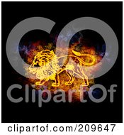 Royalty Free RF Clipart Illustration Of A Blazing Leo Zodiac Symbol by Michael Schmeling