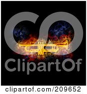 Royalty Free RF Clipart Illustration Of A Blazing Cornet by Michael Schmeling