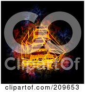 Royalty Free RF Clipart Illustration Of A Blazing Ship by Michael Schmeling