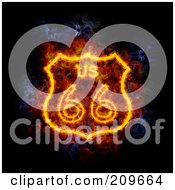 Royalty Free RF Clipart Illustration Of A Blazing Route 66 Sign by Michael Schmeling