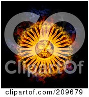 Royalty Free RF Clipart Illustration Of A Blazing Sun Face by Michael Schmeling