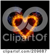 Royalty Free RF Clipart Illustration Of A Blazing Heart Playing Card Suit Symbol by Michael Schmeling