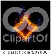 Royalty Free RF Clipart Illustration Of A Blazing Diamond Playing Card Suit Symbol