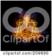 Royalty Free RF Clipart Illustration Of A Blazing Libra Zodiac Symbol