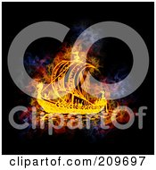 Royalty Free RF Clipart Illustration Of A Blazing Viking SHip by Michael Schmeling