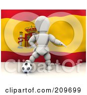 Royalty Free RF Clipart Illustration Of A 3d White Character Resting His Foot On A Soccer Ball In Front Of A Spanish Flag