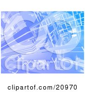 Clipart Illustration Of A Futuristic Background Of Blue Cubic Beams