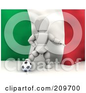 Royalty Free RF Clipart Illustration Of A 3d White Character Resting His Foot On A Soccer Ball In Front Of An Italian Flag
