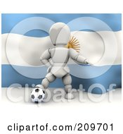 Royalty Free RF Clipart Illustration Of A 3d White Character Resting His Foot On A Soccer Ball In Front Of An Argentina Flag