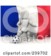 Royalty Free RF Clipart Illustration Of A 3d White Character Resting His Foot On A Soccer Ball In Front Of A French Flag