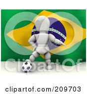 Royalty Free RF Clipart Illustration Of A 3d White Character Resting His Foot On A Soccer Ball In Front Of A Brazilian Flag by KJ Pargeter