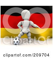 Royalty Free RF Clipart Illustration Of A 3d White Character Resting His Foot On A Soccer Ball In Front Of A German Flag