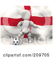 Royalty Free RF Clipart Illustration Of A 3d White Character Resting His Foot On A Soccer Ball In Front Of An English Flag by KJ Pargeter