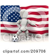 Royalty Free RF Clipart Illustration Of A 3d White Character Resting His Foot On A Soccer Ball In Front Of An American Flag