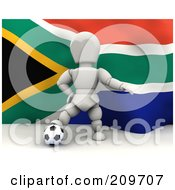Royalty Free RF Clipart Illustration Of A 3d White Character Resting His Foot On A Soccer Ball In Front Of A South African Flag