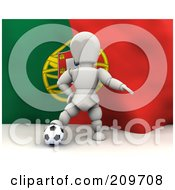 Royalty Free RF Clipart Illustration Of A 3d White Character Resting His Foot On A Soccer Ball In Front Of A Portugal Flag