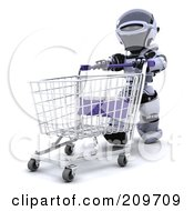 Royalty Free RF Clipart Illustration Of A 3d Silver Robot Pushing An Empty Cart