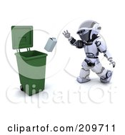 Royalty Free RF Clipart Illustration Of A 3d Silver Robot Tossing A Carton Into A Recycle Bin by KJ Pargeter
