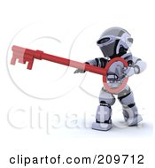 3d Silver Robot Holding A Red Skeleton Key
