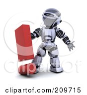 Royalty Free RF Clipart Illustration Of A 3d Silver Robot With A Red Exclamation Point by KJ Pargeter