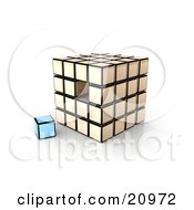 Clipart Illustration Of A Single Blue Cube Left Out Of A Puzzle Cube by 3poD