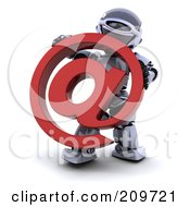 Royalty Free RF Clipart Illustration Of A 3d Silver Robot Holding A Red Email Symbol by KJ Pargeter