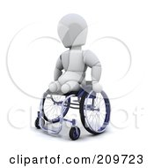 Royalty Free RF Clipart Illustration Of A 3d White Character With No Legs Using A Wheelchair