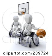 Royalty Free RF Clipart Illustration Of 3d White Characters In Wheelchairs Playing Basketball by KJ Pargeter