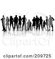 Royalty Free RF Clipart Illustration Of A Line Of Silhouetted Young Adults One In A Wheelchair by KJ Pargeter #COLLC209725-0055