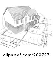 Royalty Free RF Clipart Illustration Of A Pencil Sketch Of A Home On Blueprints by KJ Pargeter