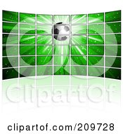 Royalty Free RF Clipart Illustration Of A Wall Of Tv Screens Displaying A Soccer Ball On A Green Burst by KJ Pargeter