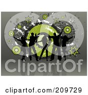 Royalty Free RF Clipart Illustration Of Five Black Silhouetted Dancers Over A Grungy Green And Gray Background