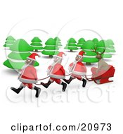 Three Santas Pulling A Reindeer Through The Woods In A Sleigh