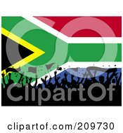 Royalty Free RF Clipart Illustration Of A Silhouetted Crowd Waving Flags Over A South African Flag