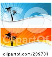 Royalty Free RF Clipart Illustration Of A Digital Collage Of Two Orange And Blue Grungy Palm Tree Website Headers by KJ Pargeter