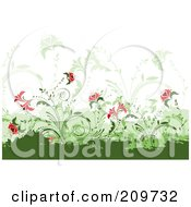 Background Of Red Flowers And Vines Over Green Grunge Marks On White