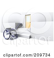 Royalty Free RF Clipart Illustration Of A 3d Wheelchair By Stairs And A Door by KJ Pargeter