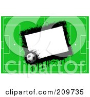 Royalty Free RF Clipart Illustration Of A Grungy White Box With A Soccer Ball And Field by KJ Pargeter