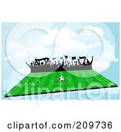 Royalty Free RF Clipart Illustration Of Silhouetted Fans Waving Flags And Looking Out On A Soccer Field In The Sky