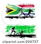 Royalty Free RF Clipart Illustration Of A Digital Collage Of Two Grungy Soccer Website Banners With Silhouetted Players by KJ Pargeter