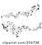 Royalty Free RF Clipart Illustration Of Two Lines Of Music Notes Flowing Over White