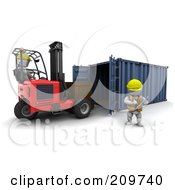 Royalty Free RF Clipart Illustration Of A Warehouse Worker White Character Supervising A Forklift Driver In A Warehouse