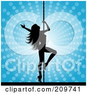 Royalty Free RF Clipart Illustration Of A Sexy Silhouetted Pole Dancer Over A Blue Halftone Background by KJ Pargeter