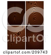 Royalty Free RF Clipart Illustration Of A Digital Collage Of Four Dark Wood Grain Patterns