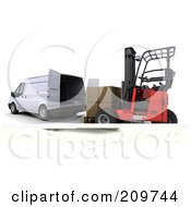 Royalty Free RF Clipart Illustration Of A 3d Forklift Steering Towards A Van
