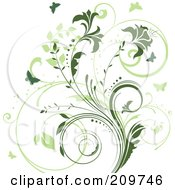 Royalty Free RF Clipart Illustration Of A Two Toned Green Vine And Butterfly Background On White by KJ Pargeter