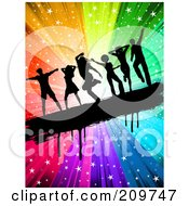 Royalty Free RF Clipart Illustration Of Black Silhouetted People Dancing On A Grungy Bar Over A Rainbow Starry Burst by KJ Pargeter