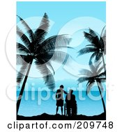 Royalty Free RF Clipart Illustration Of A Silhouetted Woman Standing Beside A Man In A Wheelchair Watching A Tropical Horizon by KJ Pargeter